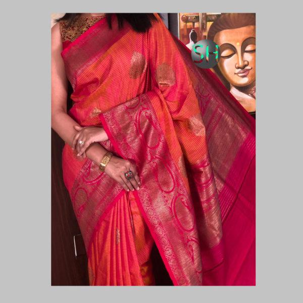 Banarasi-Silk--Dhupian orange 1
