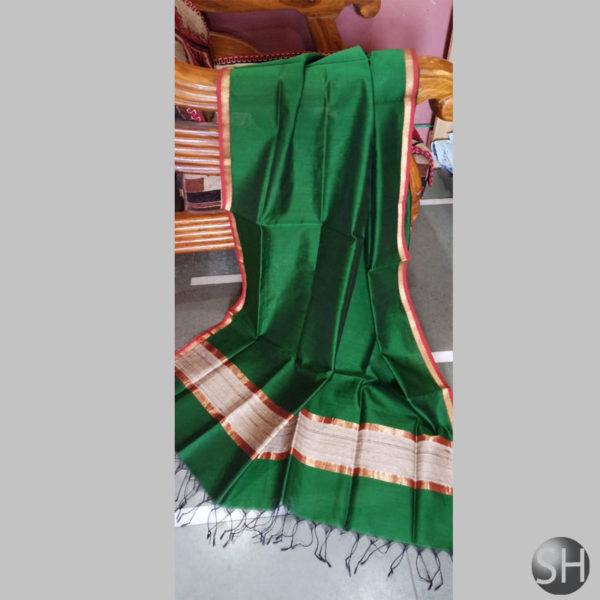 Maheshwari-jute- Dark Green