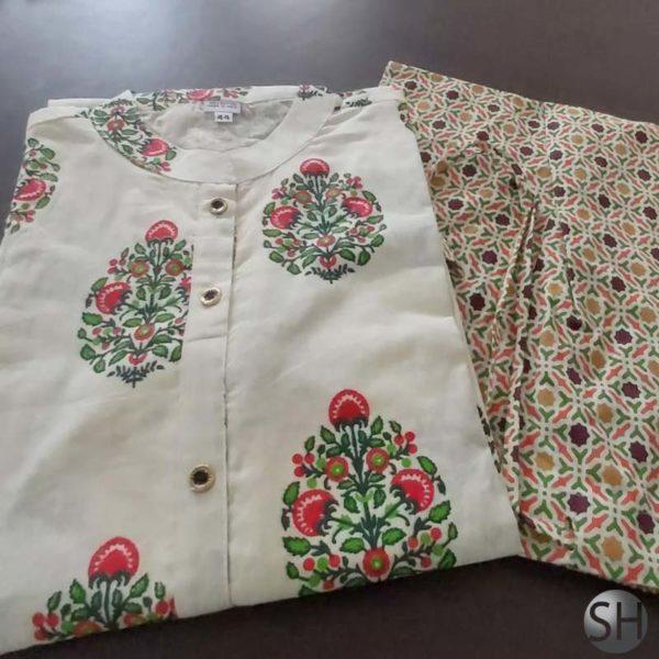 Pretty tales Women's block printed straight Kurta pant Set