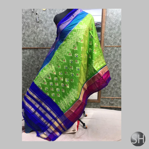 Silk-Ikkat-green-with-patte