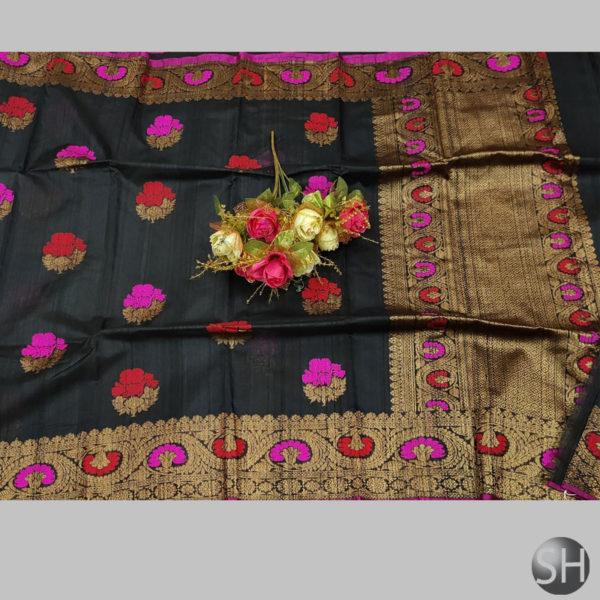 Tussar--silk-saree-with