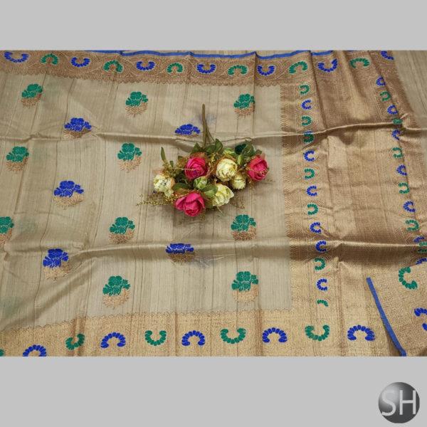 Tussar--silk-saree-with-Ric