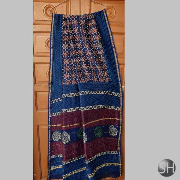 chanderi-silk-navy-blue