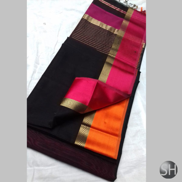 dark-black-Maheshwari-silk-