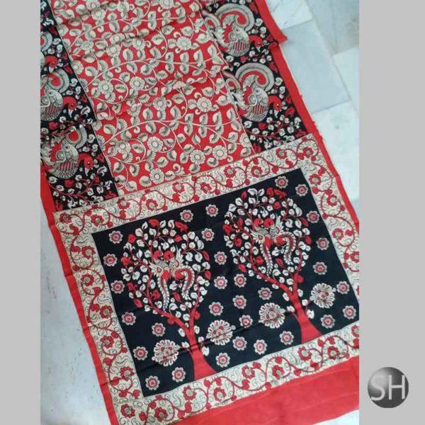 Pen kalamkari hand pen painting Chenoori silk sarees