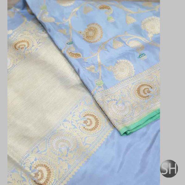 Banaras handloom katan Silk Jangla Saree