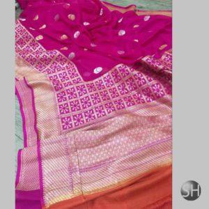 Banaras khaddi georgette's Sona Rupa kaduwa booty