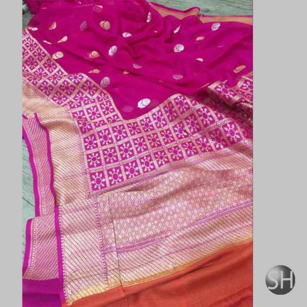 Banaras khaddi georgette's Sona Rupa kaduwa