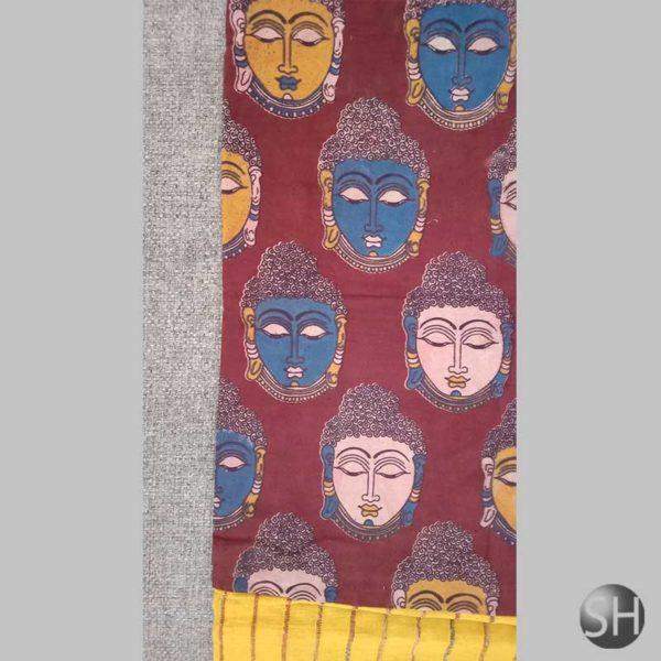 Elegant multicolor mulmul khesh cotton handmade saree,