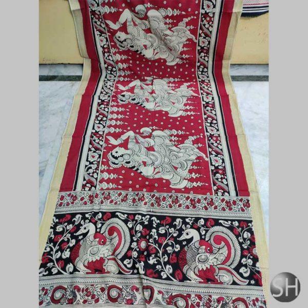 Tussar-kalamkari-saree-red