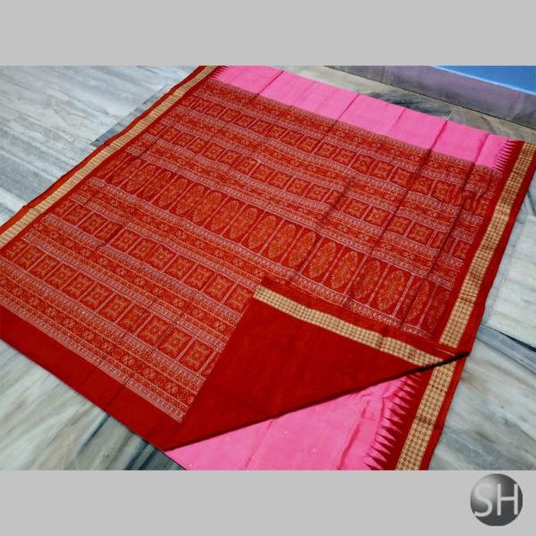 Ikkat-Bomkai-Silk-Saree--pink'