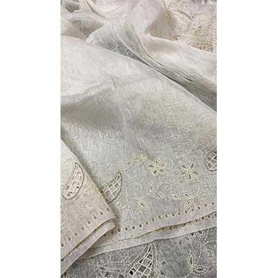 Handcrafted Banarasi Kora By Linen Silk Sarees With Maggam Cut Work
