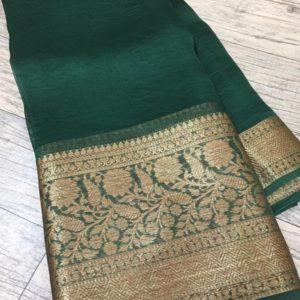 Banaras Handloom Semi Katan Silk Tilffi Sarees #6