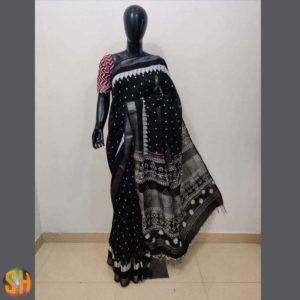 Silk Bandhej  Saree with Ajrak Pallu and Blouse Piece