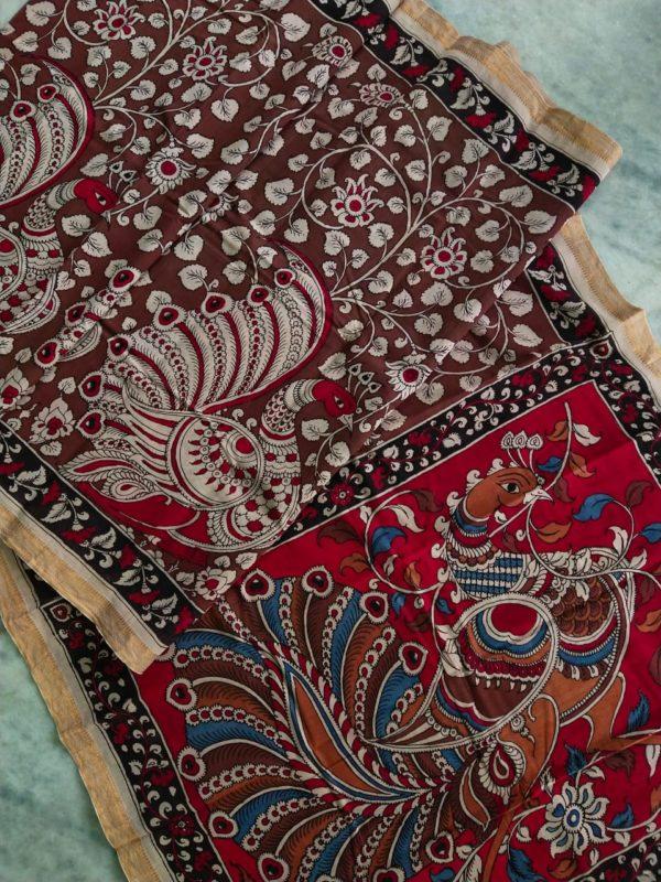 Pen kalamkari hand pen sareepainting saree