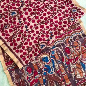 Pen Kalamkari Hand Pen Painting Sarees #6