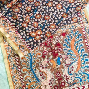 Pen Kalamkari Hand Pen Painting Sarees #3