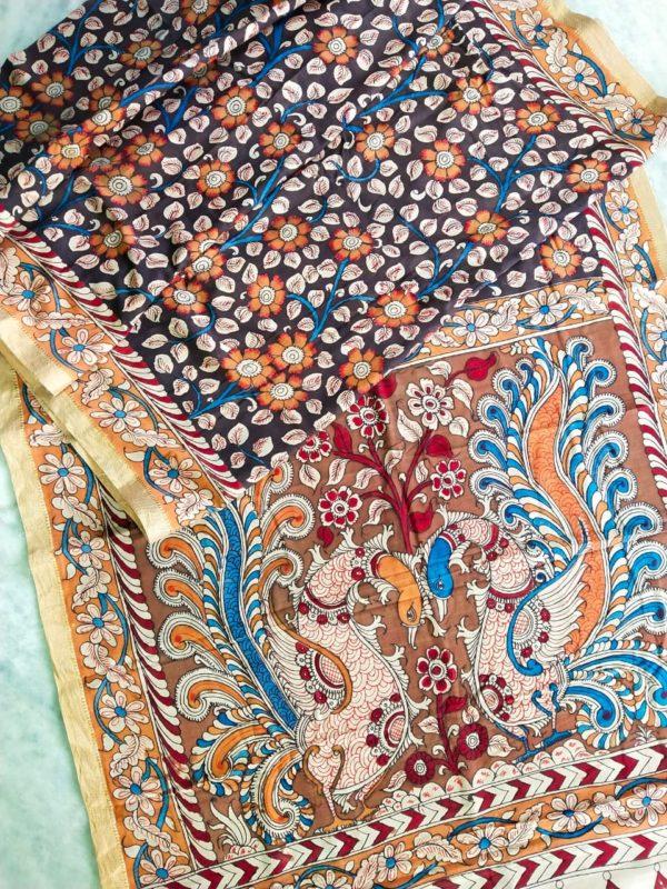 Pen kalamkari hand pen painting saree