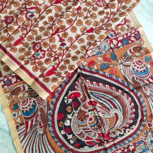 Pen Kalamkari Hand Pen Painting Sarees