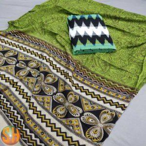 Kalamkari Cotton Duppatas with Ikkat Top