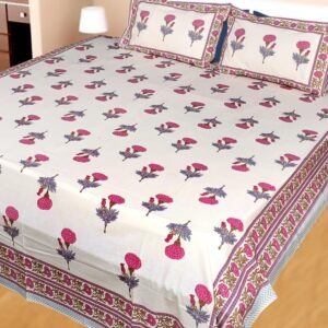 Hand block printed Bedsheets with two pillow