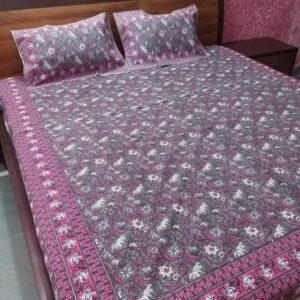 Hand block printed Bedsheets with two pillow #10