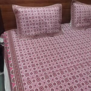 Hand block printed Bedsheets with two pillow #17