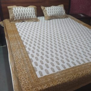 Hand block printed Bedsheets with two pillow #15