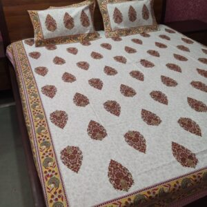 Hand block printed Bedsheets with two pillow #12