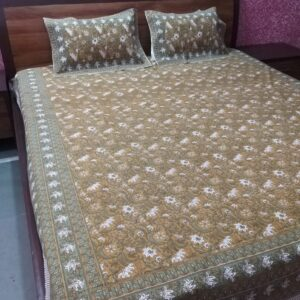 Hand block printed Bedsheets with two pillow #13