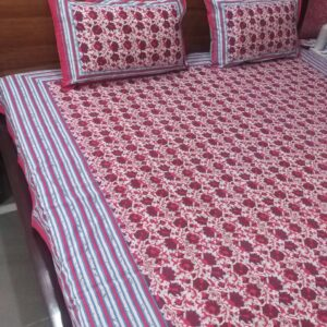 Hand block printed Bedsheets with two pillow #14