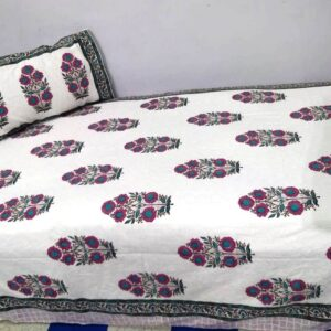 Handblock printed Cotton Bedsheet-Single Bed with pillow