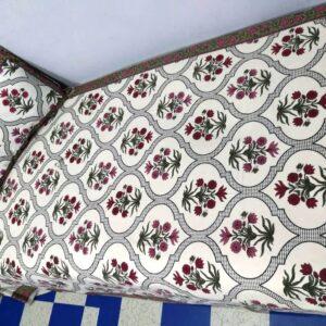 Handblock printed Cotton Bedsheet-with pillow (10)