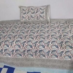 Handblock printed Cotton Bedsheet-with pillow (13)