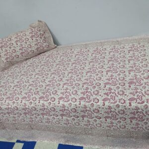 Handblock printed Cotton Bedsheet-with pillow (14)