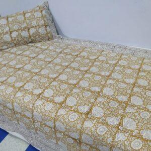 Handblock printed Cotton Bedsheet-with pillow (15)