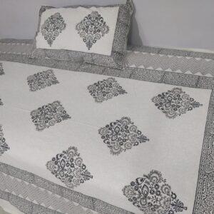 Handblock printed Cotton Bedsheet-with pillow (16)