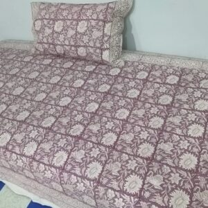 Handblock printed Cotton Bedsheet-with pillow (18)