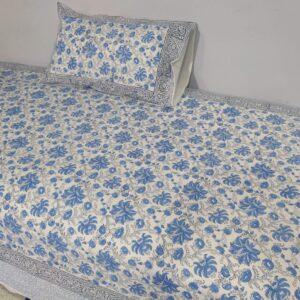 Handblock printed Cotton Bedsheet-with pillow (19)