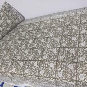Handblock printed Cotton Bedsheet with pillow (23)