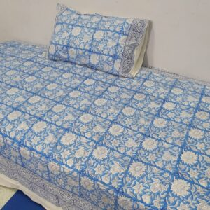 Handblock printed Cotton Bedsheet with pillow (22)