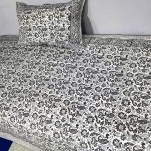 Handblock printed Cotton Bedsheet with pillow (25)