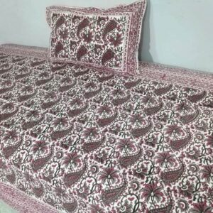 Handblock printed Cotton Bedsheet with pillow (26)