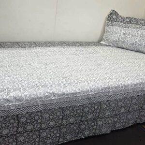 Handblock printed Cotton Bedsheet with pillow (27)