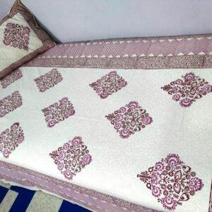 Handblock printed Cotton Bedsheet with pillow (29)