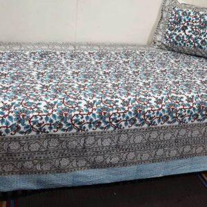 Handblock printed Cotton Bedsheet-with pillow (3)