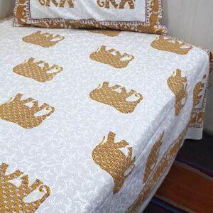 Handblock printed Cotton Bedsheet-with pillow (4)