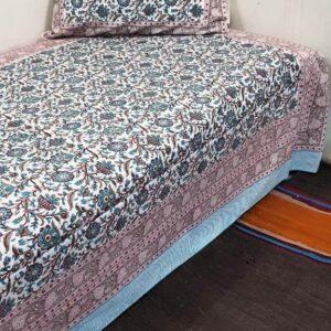 Handblock printed Cotton Bedsheet-with pillow (5)