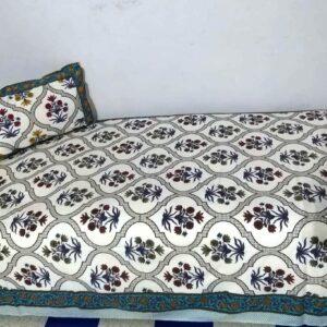 Handblock printed Cotton Bedsheet-with pillow (7)