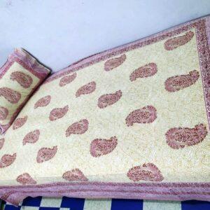 Handblock printed Cotton Bedsheet-with pillow (8)
